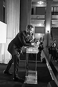 OLIVER BARKER, AUCTIONEER, Whitechapel Gallery Art Icon 2015 Gala dinner supported by the Swarovski Foundation. The Banking Hall, Cornhill, London. 19 March 2015