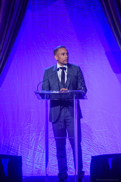 Hill Harper, actor, author, and philanthropist, entrepreneur, and founder of the Manifest Your Destiny Foundation, was honored with the Muhammad Ali Humanitarian Award for Education at the fifth annual Muhammad Ali Humanitarian Awards Saturday, Sept. 23, 2017, at the Marriott Louisville Downtown in Louisville, Ky. (Photo by Brian Bohannon/Invision for Muhammad Ali Center/AP Images)