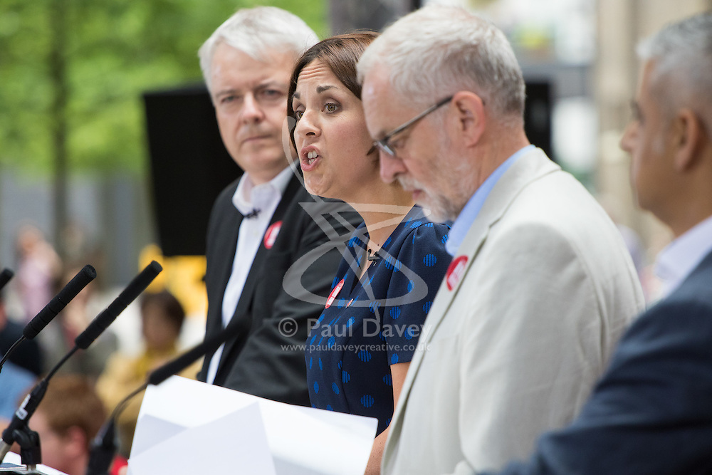 Kings Cross, London, June 22nd 2016. A final rally by members of the Labour Party's Vote Remain team is held in King's Cross, bringing London mayor Sadiq Khan, Welsh first minister Carwyn Jones, Labour In For Britain head Alan Johnson and Scottish leader Kezia Dugdale and Party Leader Jeremy Corbyn in a show of unity as they express the importance of a Remain vote. PICTURED: Scottish Labour leader Kezia Dugdale addresses the crowd.