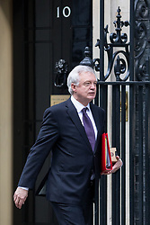 © Licensed to London News Pictures. 16/01/2018. London, UK. Secretary of State for Exiting the European Union David Davis leaving Downing Street after attending a Cabinet meeting this morning. Photo credit : Tom Nicholson/LNP