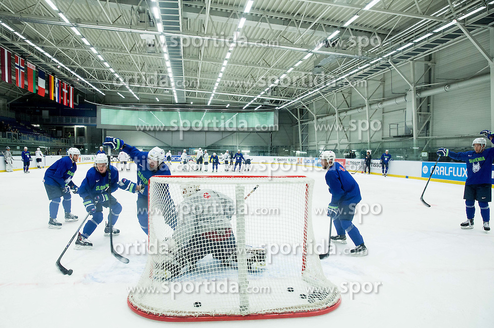Rok Ticar of Slovenia, Ziga Jeglic of Slovenia and Blaz Gregorc of Slovenia vs Gasper Kroselj of Slovenia during practice session of Slovenian National Ice Hockey Team 1 day prior to the 2015 IIHF World Championship in Czech Republic, on April 30, 2015 in Practice arena Ostrava, Czech Republic. Photo by Vid Ponikvar / Sportida