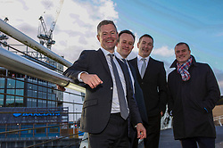 Finance Secretary Derek Mackay, left, Charlie Smith, managing director of Scottish Development International, Scott Stewart, head of Barclays Scotland, and Scottish Enterprise chief executive Steve Dunlop visited the Barclays Bank construction site at Tradeston, Glasgow. Pic: Terry Murden @edinburghelitemedia