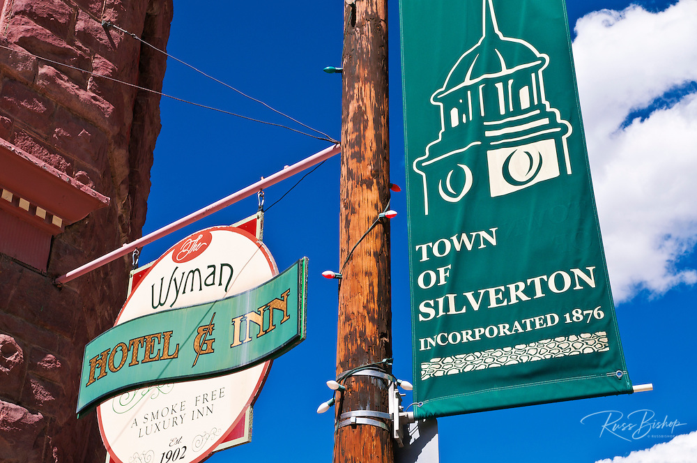 Banner in the downtown historic district, Silverton, Colorado