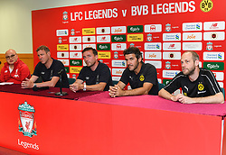 HONG KONG, CHINA - Thursday, June 6, 2019: Liverpool FC Legends' Stephane Henchoz (L) and Vladimir Smicer (C) with Borussia Dortmund Legends' Karl-Heinz Riedle during a press conference at the Hong Kong Stadium ahead of an exhibition match between Liverpool FC and Borussia Dortmund. (Pic by Jayne Russell/Propaganda)