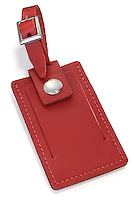 red leather identification tag
