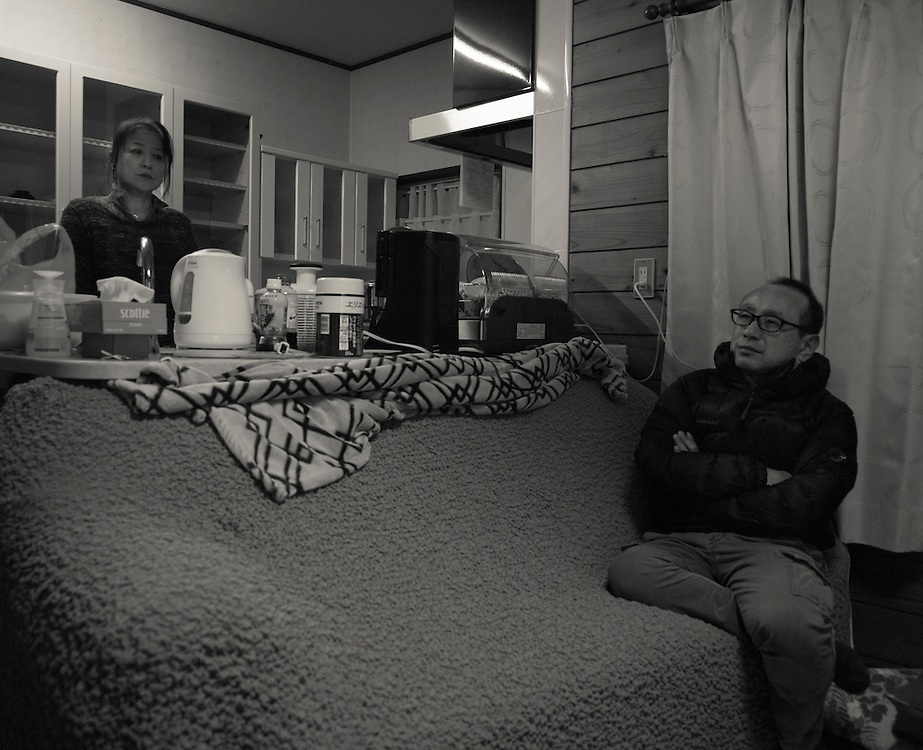 Hiroshi and Hiromi Aoki  Hiroshi is the Naraha  town official who is in charge of radiation mesurment in his Naraha home with his wife march 2015  home with his wife march 2015.