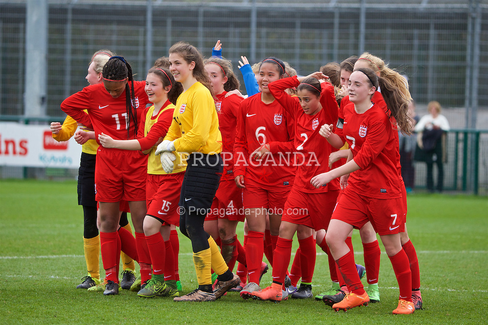 NEWPORT, WALES - Monday, April 4, 2016: England players celebrate their 1-0 victory over Republic of Ireland during the Final on day four of the Bob Docherty International Tournament 2016 at Dragon Park. (Pic by David Rawcliffe/Propaganda)