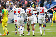 Traore Bertrand of Lyon and Depay Memphis of Lyon and Aouar Houssem of Lyon and Mendy Ferland of Lyon during the French Championship Ligue 1 football match between Olympique Lyonnais and FC Nantes on April 28, 2018 at Groupama Stadium in Décines-Charpieu near Lyon, France - Photo Romain Biard / Isports / ProSportsImages / DPPI