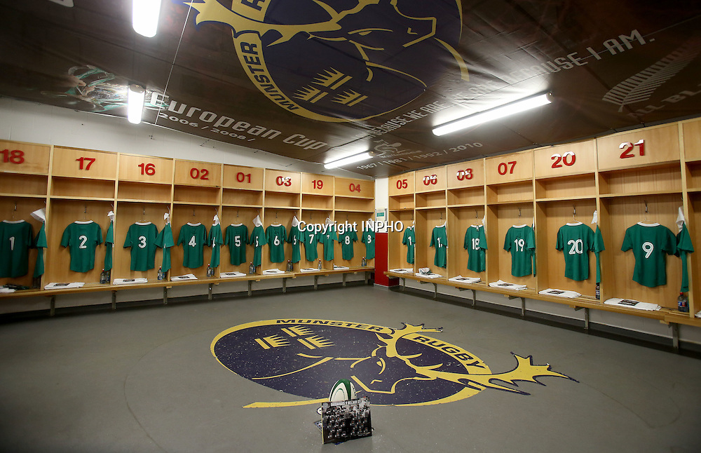 Barbarians Summer Tour Match, Thomond Park, Limerick 28/5/2015 <br /> Ireland XV vs Barbarians<br /> A view of the Ireland changing room <br /> Mandatory Credit &copy;INPHO/Dan Sheridan