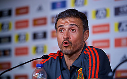 CARDIFF, WALES - Wednesday, October 10, 2018: Spain's manager Luis Enrique during a press conference at the Principality Stadium ahead of the International Friendly match between Wales and Spain. (Pic by David Rawcliffe/Propaganda)