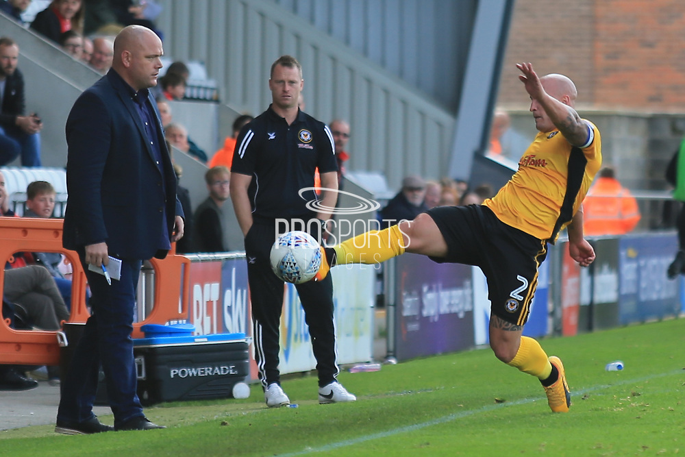 David Pipe of Newport County during the EFL Sky Bet League 2 match between Morecambe and Newport County at the Globe Arena, Morecambe, England on 16 September 2017. Photo by Mick Haynes.
