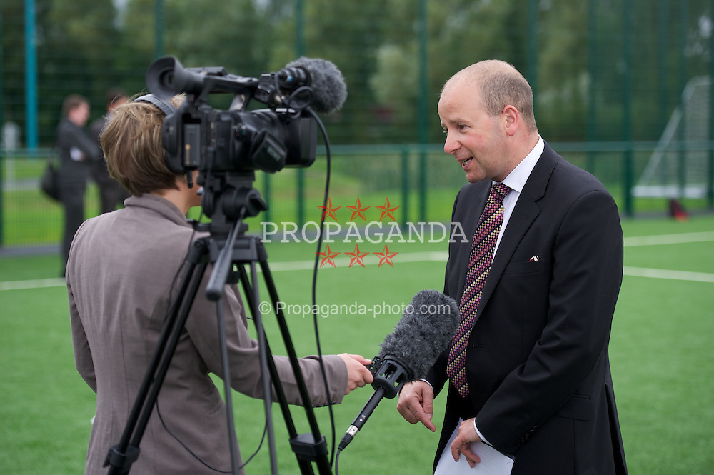 NEWPORT, WALES - Wednesday, July 4, 2012: FAW Chief-Executive Jonthan Ford speaks to the media as the Football Association of Wales opens the first 3G pitch at the National Development Centre at the Newport International Sports Village. (Pic by David Rawcliffe/Propaganda)