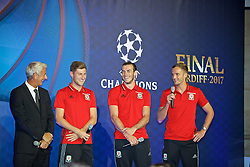 CARDIFF, WALES - Wednesday, August 31, 2016: Former winner Ian Rush alongside European Cup players Ben Davies, Gareth Bale and Andy King during a gala dinner at the Cardiff Museum to launch the UEFA Champions League Finals 2017 to be held in Cardiff. (Pic by David Rawcliffe/Propaganda)