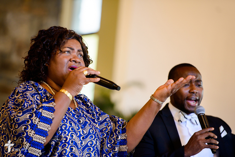 Choir members sing during worship at Lamb of God Lutheran Church, housed in Ascension Lutheran Church, Landover Hills, Md., on Sunday, Aug. 6, 2017. LCMS Communications/Erik M. Lunsford