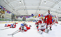 DMITROV, RUSSIA - JANUARY 9: Czech Republic players celebrate after a 3-2 preliminary round win against Finland at the 2018 IIHF Ice Hockey U18 Women's World Championship. (Photo by Steve Kingsman/HHOF-IIHF Images)