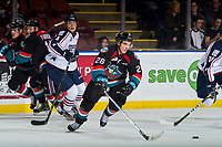KELOWNA, CANADA - OCTOBER 13:  Liam Kindree #26 of the Kelowna Rockets skates for the puck against the Tri-City Americans on October 13, 2018 at Prospera Place in Kelowna, British Columbia, Canada.  (Photo by Marissa Baecker/Shoot the Breeze)  *** Local Caption ***