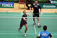 Oliver Gwilt and Nicolas Strange of Wales in mens doubles action.Wales international badminton championships 2014 at the Welsh institute of Sport, Sophia Gardens in Cardiff, South Wales on Friday 28th November 2014<br /> pic by Andrew Orchard, Andrew Orchard sports photography.
