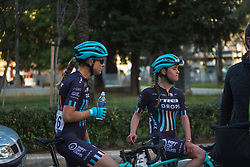Tayler Wiles (USA) and Abby-Mae Parkinson (GBR) of Trek-Drops Cycling Team cool down after Stage 1 of the Setmana Cicilsta Valenciana - a 118 km road race, between Rotova and Gandia on February 22, 2018, in Valencia, Spain. (Photo by Balint Hamvas/Velofocus.com)