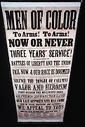 At the height of the Civil War Black's were urged to take up arms.  This poster was sponsored by black adolitionists in Philadelphia and eventually some 8000 were called into service.