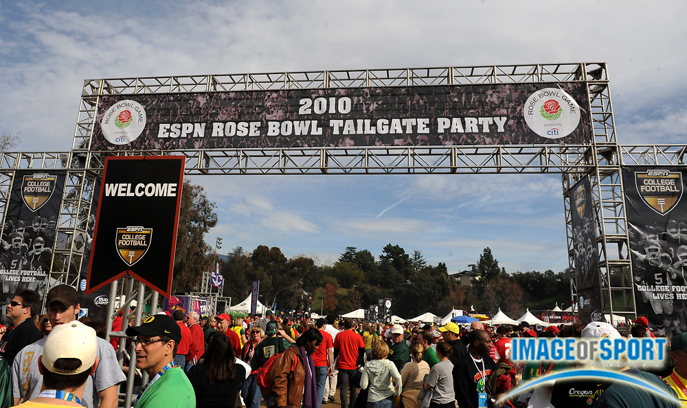 Jan 1, 2010; Pasadena, CA, USA; General view of the 2010 Rose Bowl tailgate party before the game between the Ohio State Buckeyes and Oregon Ducks.
