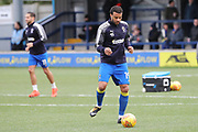AFC Wimbledon midfielder Tom Soares (19) warming up during the EFL Sky Bet League 1 match between AFC Wimbledon and Southend United at the Cherry Red Records Stadium, Kingston, England on 1 January 2018. Photo by Matthew Redman.