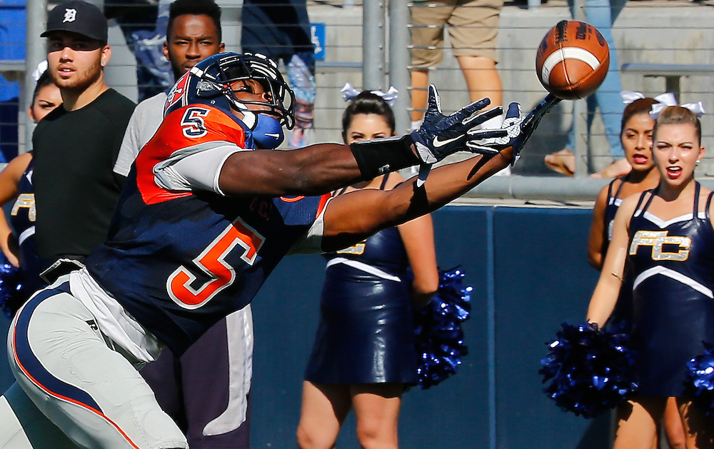 11/5/16 2:13:41 PM- Orange Coast Pirate defensive back Semaj Bilal (5) attempts to catch a pass during the game between <br /> Orange Coast College vs Fullerton College at LaBard Stadium in Costa Mesa, CA<br /> <br /> Photo by Chris M. Leung/Sports Shooter Academy