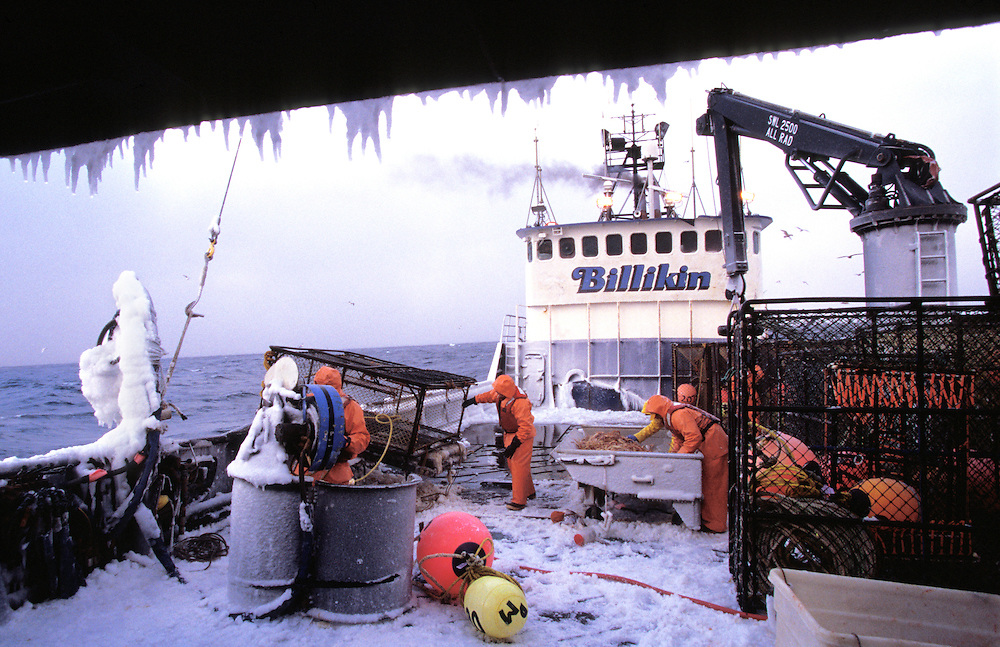 Ice covers the deck on a crab fishing boat in the Bering Sea