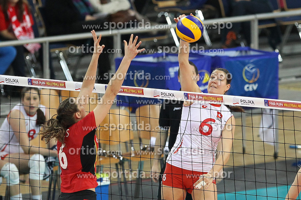 04.01.2014, Atlas Arena, Lotz, POL, FIVB, Damen WM Qualifikation, Belgien vs Schweiz, im Bild PATRICIA SCHAUSS CHARLOTTE LEYS // PATRICIA SCHAUSS CHARLOTTE LEYS during the ladies FIVB World Championship qualifying match between Belgium and Switzerland at the Atlas Arena in Lotz, Poland on 2014/01/05. EXPA Pictures &copy; 2014, PhotoCredit: EXPA/ Newspix/ Maciej Goclon<br /> <br /> *****ATTENTION - for AUT, SLO, CRO, SRB, BIH, MAZ, TUR, SUI, SWE only*****