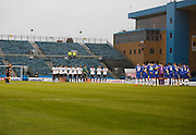 Both teams pay their respects to the fallen before the Sky Bet League 1 match between Gillingham and Bury at the MEMS Priestfield Stadium, Gillingham, England on 14 November 2015. Photo by Andy Walter.