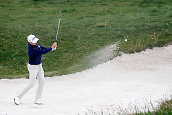 June 12, 2019 - Pebble Beach, CA, U.S. - PEBBLE BEACH, CA - JUNE 12: PGA golfer Justin Thomas hits out of a sand trap on the 17th hole during a practice round for the 2019 US Open on June 12, 2019, at Pebble Beach Golf Links in Pebble Beach, CA. (Photo by Brian Spurlock/Icon Sportswire) (Credit Image: © Brian Spurlock/Icon SMI via ZUMA Press)