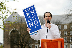 © Licensed to London News Pictures. 13/04/2012. Bristol, UK. Bristol City Councillor Tim Kent takes part in an open air debate whether Bristol should have an elected mayor at a speakers corner debate at College Green in front of Bristol's Council House..Photo credit : Simon Chapman/LNP