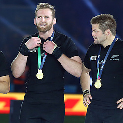 LONDON, ENGLAND - OCTOBER 31: Daniel Carter of New Zealand with Kieran Read of New Zealand and Richie McCaw (captain) of New Zealand during the Rugby World Cup Final match between New Zealand vs Australia Final, Twickenham, London on October 31, 2015 in London, England. (Photo by Steve Haag)
