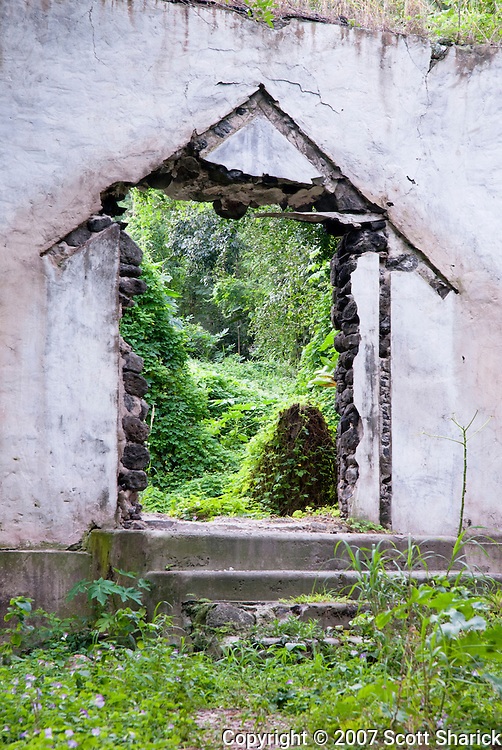 An abandoned church in the lush tropical Halawa Valley on Molokai.