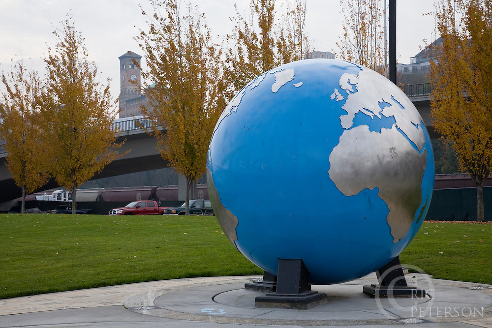 large globe in park africa and europe showing on globe