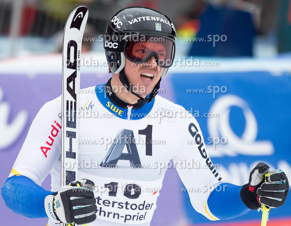 28.02.2016, Hannes Trinkl Rennstrecke, Hinterstoder, AUT, FIS Weltcup Ski Alpin, Hinterstoder, Riesenslalom, Herren, 2. Lauf, im Bild Andre Myhrer (SWE) // Andre Myhrer of Sweden reacts after his 2nd run of men's Giant Slalom of Hinterstoder FIS Ski Alpine World Cup at the Hannes Trinkl Rennstrecke in Hinterstoder, Austria on 2016/02/28. EXPA Pictures © 2016, PhotoCredit: EXPA/ Johann Groder