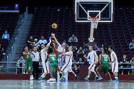 Basketball match between SO Poland and SO Portugal while basketball tournament during fifth day of the Special Olympics World Games Los Angeles 2015 on July 29, 2015 at Galen Centre University of Southern California in Los Angeles, USA.<br /> <br /> USA, Los Angeles, July 29, 2015<br /> <br /> Picture also available in RAW (NEF) or TIFF format on special request.<br /> <br /> For editorial use only. Any commercial or promotional use requires permission.<br /> <br /> Adam Nurkiewicz declares that he has no rights to the image of people at the photographs of his authorship.<br /> <br /> Mandatory credit:<br /> Photo by © Adam Nurkiewicz / Mediasport