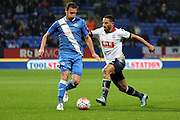 Liam Feeney battles during the The FA Cup Third Round Replay match between Bolton Wanderers and Eastleigh at the Macron Stadium, Bolton, England on 19 January 2016. Photo by Pete Burns.