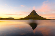 Sunset in late September at Kirkjufell mountain.