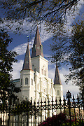 St. Louis Cathedral in the French Quarter of New Orleans, Louisiana with clouds forming a cross in the sky above
