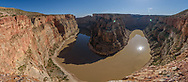 The more well known Horseshoe Bend is in Arizona. But Bighorn Canyon has a horseshoe bend as well. This view is near the end of the Stateline Trail just barely in Montana. This is a 7-shot panorama.