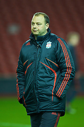 LIVERPOOL, ENGLAND - Monday, February 8, 2010: Liverpool's youth team coach Rodolfo Borrell during the FA Youth Cup 5th Round match against Watford at Anfield. (Pic by David Rawcliffe/Propaganda)