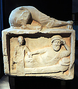 Funerary relief. The deceased rests on a Kline, an animal figure. Limestone with traces of red paint. Second half of the fifth Century BC. Athienou, Nicosia
