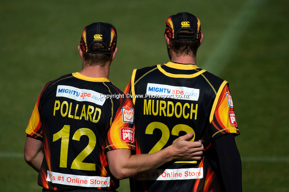 Michael Pollard (L) celebrates Stephen Murdoch catching out Ben Smith of the Stags during the Georgie Pie Super Smash Firebirds v Stags cricket match at the Westpac Stadium in Wellington on Sunday the 23rd of November 2014. Photo by Marty Melville/www.Photosport.co.nz