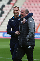 Football - 2017 / 2018 FA Cup - Third Round : AFC Bournemouth vs. Wigan Athletic<br /> <br /> Former Bournemouth favourite Shaun MacDonald of Wigan Athletic jokes around with Wigan Athletic Manager Paul Cook whilst looking round the stadium at Dean Court (Vitality Stadium) Bournemouth <br /> <br /> COLORSPORT/SHAUN BOGGUST