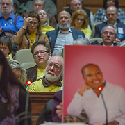 ANNAPOLIS, MD - FEB19: A packed audience listens to moving testimony from Eric King about his wife Marlene's (pictured) battle with breast cancer, during a Maryland General Assembly hearing on right to die issues, February, 19, 2016 (Photo by Evelyn Hockstein/For The Washington Post)