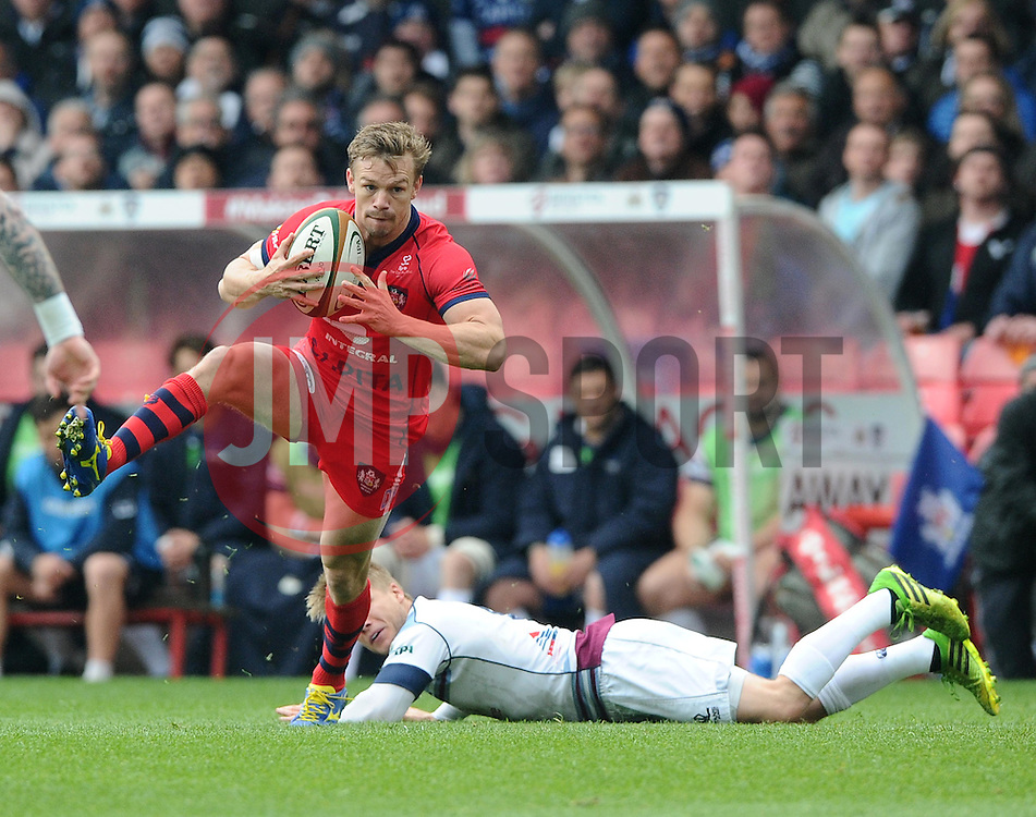 Rotherham Scrum-Half Andy Davies fails to stop Bristol Scrum-Half Dwayne Peel (capt)  - Photo mandatory by-line: Joe Meredith/JMP - Mobile: 07966 386802 - 02/05/2015 - SPORT - Rugby - Bristol - Ashton Gate - Bristol Rugby v Rotherham - Greene King IPA Championship