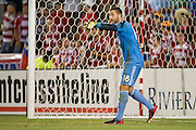 FRISCO, TX - JUNE 26:  Chris Seitz #18 of FC Dallas yells at his teammates as they face off against the Portland Timbers on June 26, 2013 at FC Dallas Stadium in Frisco, Texas.  (Photo by Cooper Neill/Getty Images) *** Local Caption *** Chris Seitz