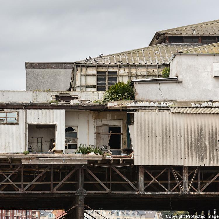 Abandoned Victorian Colwyn Bay pier, Conwy.