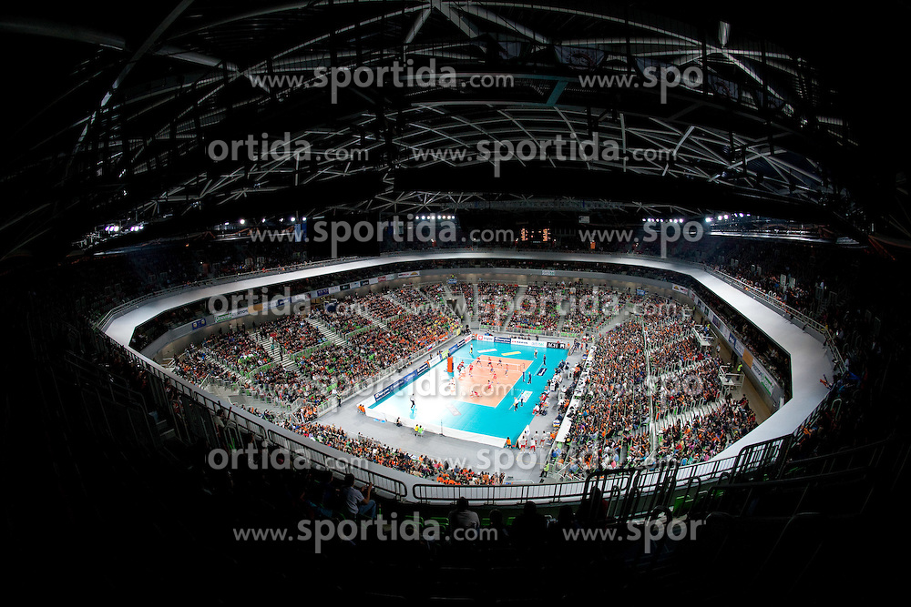 Arena Stozice during volleyball match between ACH Volley (SLO) and Olympiacos (GRE) in 4th Round of 2011 CEV Champions League, on December 14, 2010 in Arena Stozice, Ljubljana, Slovenia. ACH Volley defeated Olympiacos 3-2. (Photo By Vid Ponikvar / Sportida.com)