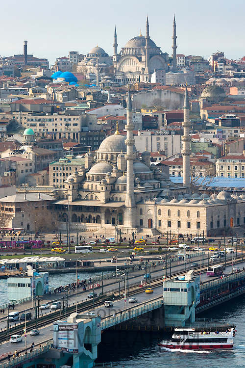 Yeni Camii, the Great Mosque, Blue Mosque (behind), Golden Horn, ferry boat on Bosphorus River, Istanbul, Turkey